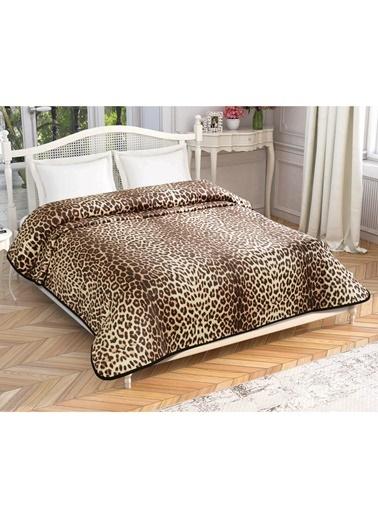 Taç Çift Kişilik Leopard Battaniye Renkli